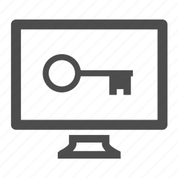 computer, key, monitor, password, screen icon