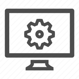 cog, computer, monitor, screen, settings icon