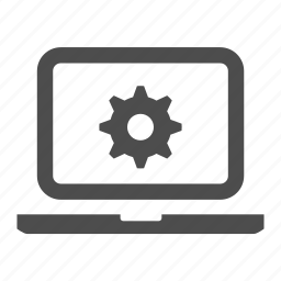 cog, configuration, laptop, notebook, screen icon