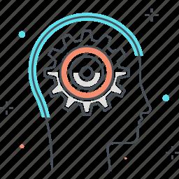 cog, development, gear, male, man, thinking icon