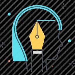 female, pencil, scenario, woman, writing icon