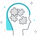 female, head, puzzle, solutions, solve, woman girl icon