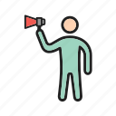 bold, outspoken, character, confident, opinion, talk, feedback icon