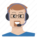 customer service, glasses, headphones, man, people, support, user icon