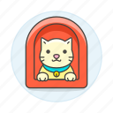 animal, care, cat, house, kitty, pet, red, yellow icon