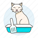 animal, cat, excretion, kitty, litter, pet, pooping, sand, sandbox, scoop icon