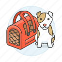animal, bag, care, carrier, dog, pet, puppy, red, transport icon