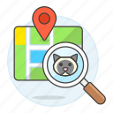 animal, app, cat, devices, finding, kitty, location, magnifier, map, pet, pin, smart, tracker, tracking