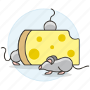 animal, cheese, eating, feeding, holes, mouse, pet, rodent, swiss, with, yellow icon