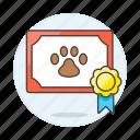 2, adoption, animal, badge, certificate, love, medal, paw, pet, pride icon