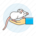 2, albino, animal, domestic, hand, mouse, pet, rodent, white icon