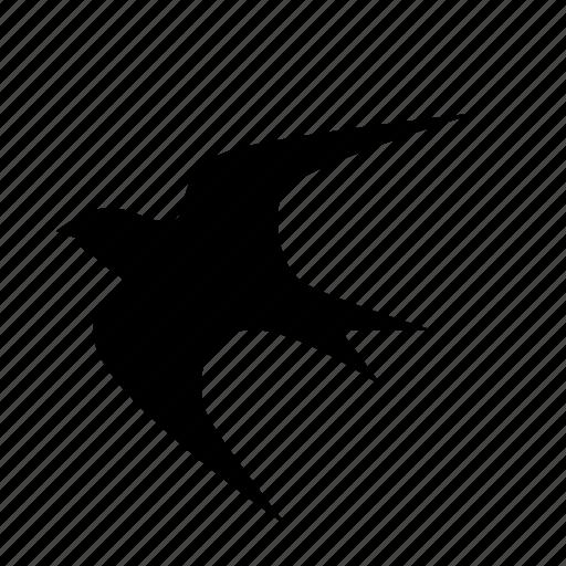 animal, animals, breed, domestic, mammal, pet, swallow bird flying silhouette icon
