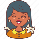 avatar, cat, face, girl, pet, smile, woman icon