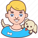 avatar, blond, dog, face, man, pet, smile icon