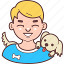 avatar, blond, dog, face, laugh, man, pet icon