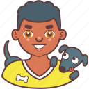 avatar, boy, dog, face, man, pet, smile icon