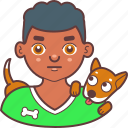 avatar, boy, canine, dog, face, man, pet