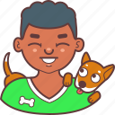 avatar, dog, face, happy, man, pet, smile icon