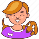 avatar, dog, face, happy, laugh, man, pet icon