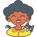 avatar, cat, face, girl, pet, smie, woman icon