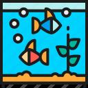 animal, aquarium, bowl, fish, fishbowl, square, tank icon