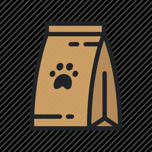 Bag, cat, dog, food, pack, paw, pet icon