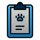 animal, clipboard, note, pet, report, veterinary icon