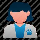 animal, avatar, female, pet, veterinarian, veterinary