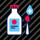 bottle, drug, medical, mixture, pharmacy, spoon, syrup