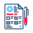 checklist, diagnostic, doctor, document, list, paper, pharmacy icon