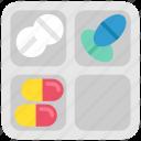 drugstore, health, healthcare, pharmacy, pill box, pills, tablets icon