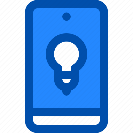 bulb, idea, innovation, light, phone icon