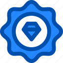 badge, diamond, premium, quality, star icon