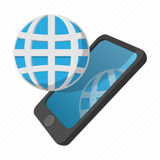 cartoon, communication, digital, globe, mobile, phone, smartphone icon