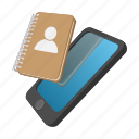 cartoon, empty, note, notebook, paper, phone, smartphone icon