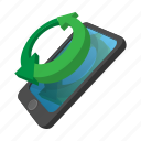 arrow, cartoon, internet, mobile, phone, refresh, reload icon