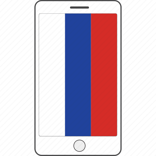 country, flag, national, phone, russia icon