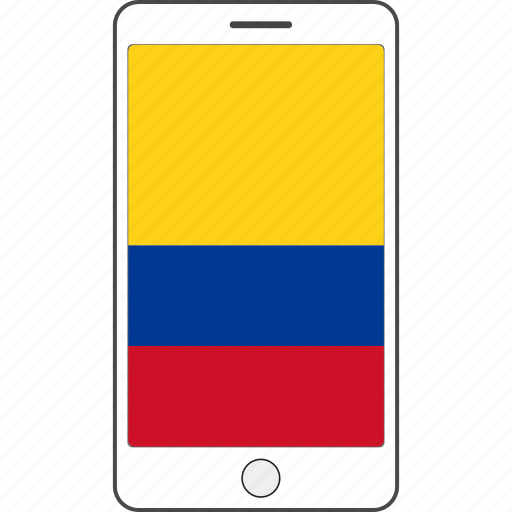columbia, country, flag, national, phone icon