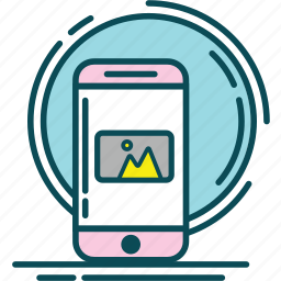 blue, grey, image, mount, picture, pink, yellow icon