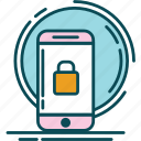 blue, key, lock, notification, orange, padlock, pink icon