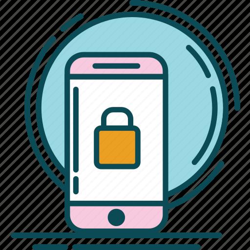 blue, key, lock, notification, orange, padlock, pink icon