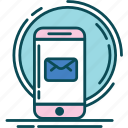 blue, email, message, notification, pink icon