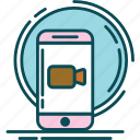 blue, brown, cam, camera, pink, record, recorder icon