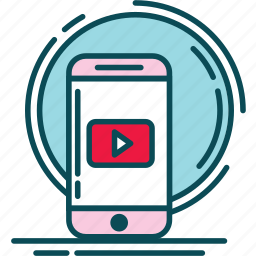 notification, pink, play, red, video, vidio, youtube icon