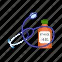 alcohol, bottle, ethanol, ethyl, medical, stethoscope, water