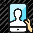 phone, selfie, front