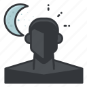 mode, moon, night, person, profile, ui icon