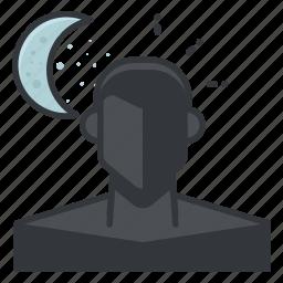 mode, moon, night, person, profile, ui icon