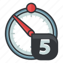 clock, five, photo, time, timer, ui, video icon