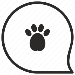 comment, dog, footstep, message, puppy icon